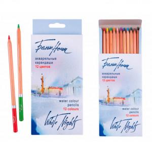 Набор акварельных карандашей Белые Ночи 12 цветов в картоне