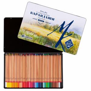 Набор карандашей цветных Мастер-Класс 36 цветов, жестяная коробка