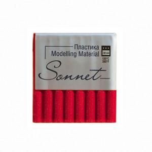 Полимерная глина Сонет, 56 г, цвет красный с блестками