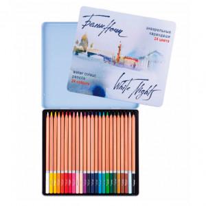 Набор акварельных карандашей Белые Ночи 24 цвета в металле
