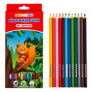 Цветные карандаши Цветик, шестигранные, 12 цветов