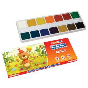Набор акварельных медовых красок Цветик, 14 цветов, картонная упаковка