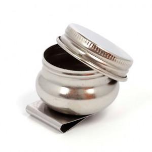 Масленка металлическая, одинарная, с крышкой, диаметр 3,6 см, высота 2 см